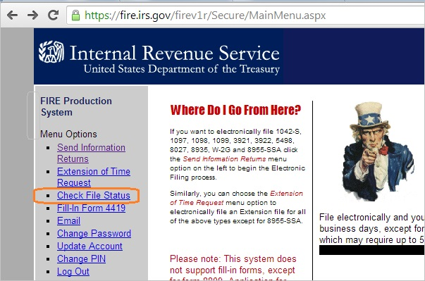 1099 Electronic Filing How To Look Up Irs Tax Return Efile Status