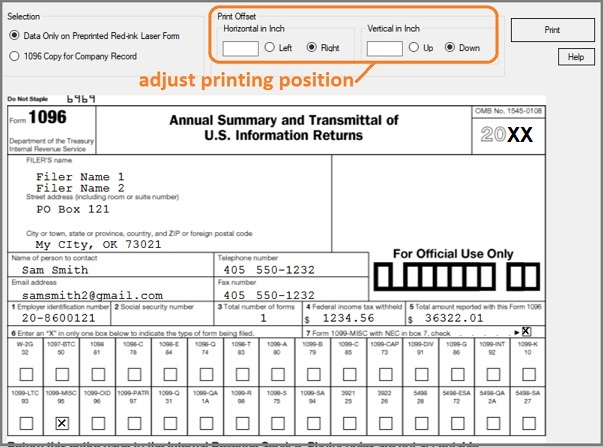 form_1096  Form Examples on