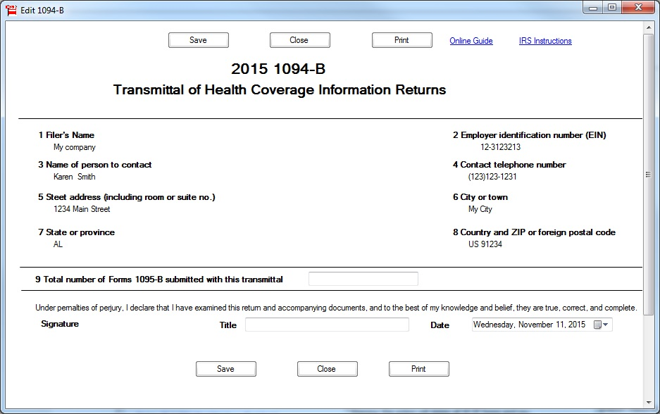 Ez1095 Software How To Print Form 1095 B And 1094 B