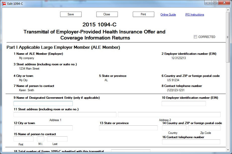 ez1095 software: How to Print Form 1095-C and 1094-C