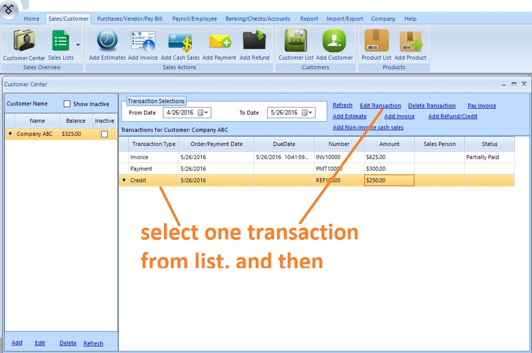 EzAccounting Software How To AddEditDelete Transactions - Invoice payment software