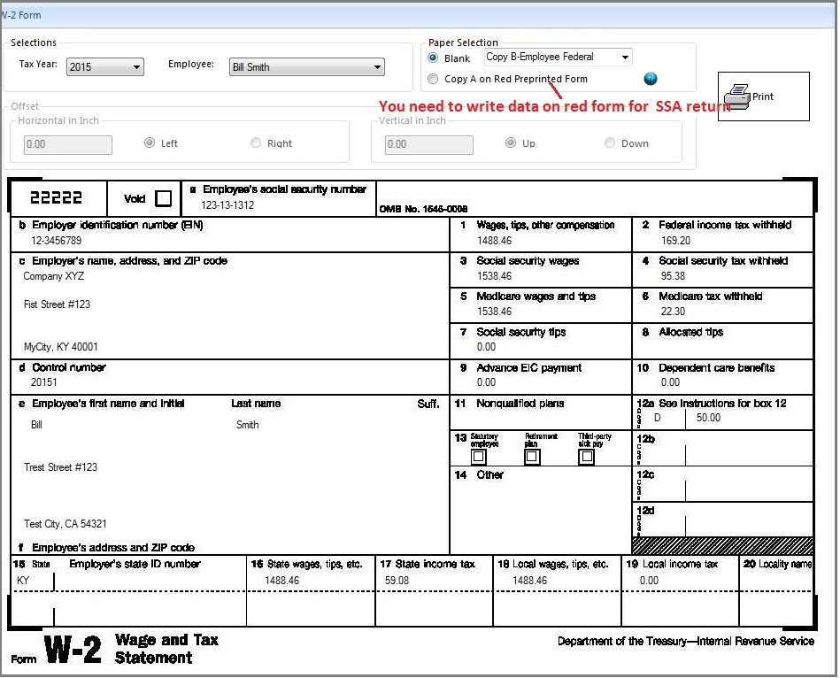 graphic about Printable W2 Form for called ezAccounting Payroll: How in direction of Print Style W2