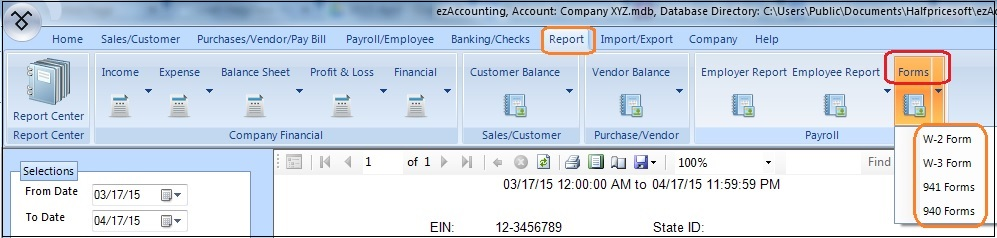 How To Print Form 940 Ezaccounting Payroll