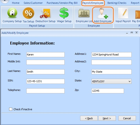 payroll_employee_add Tax Form Example on wages withholdings, annual reconciliation, federal tax return, payment voucher, worksheet monthly,
