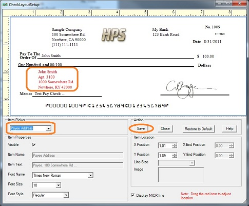 How Can I Customize The Payee Address On Check