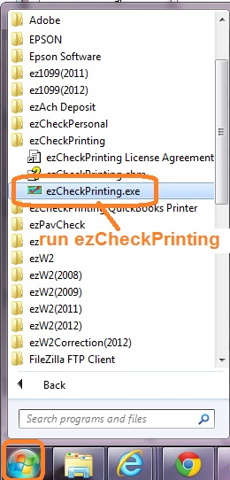 run ezCheckPrinting from start menu