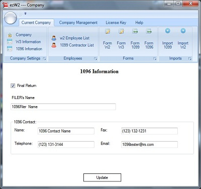1099 W2 software: 1096 information setup