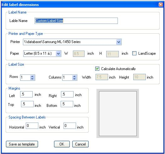 bar code label generating and printing program software size editor
