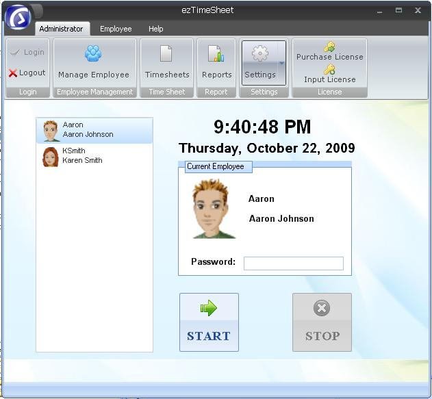 ezTimeSheet Employee Time Tracker Screen shot