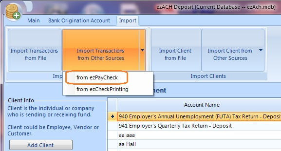 import transaction for ACH file