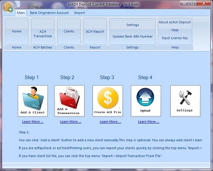 ACH deposit software main page
