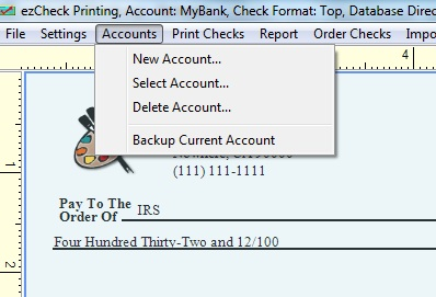 Check Printing software account management