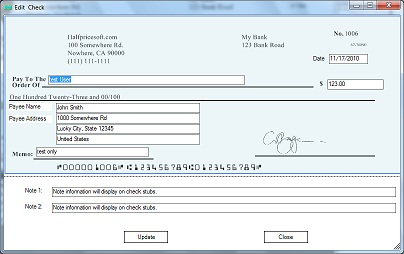 ezCheckPrinting software: add new check