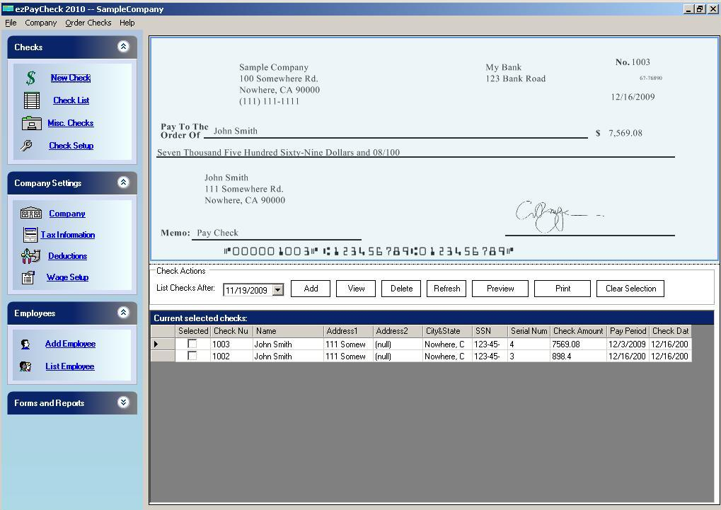 payroll software main screen