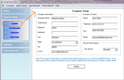 payroll system company setup screen