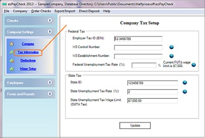 payroll application tax option setup