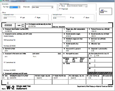 ezPaycheck payroll software prints form w2 w3
