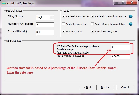 Arizona payroll employee tax setup