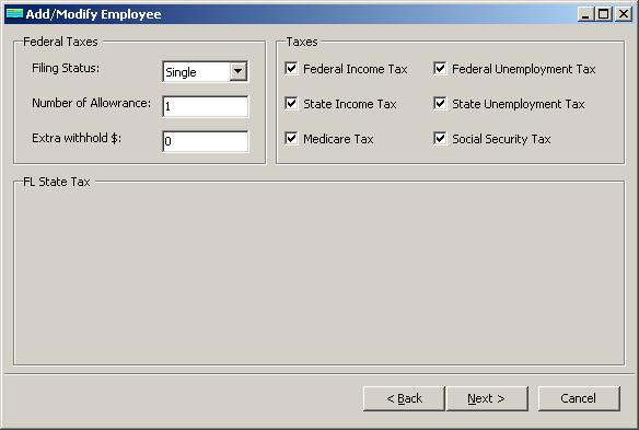 Florida payroll employee tax setup