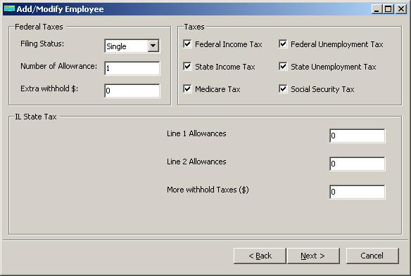 Illinois payroll employee tax setup