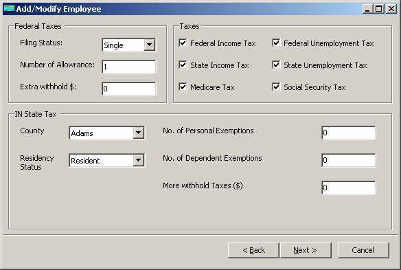 Indiana payroll employee tax setup