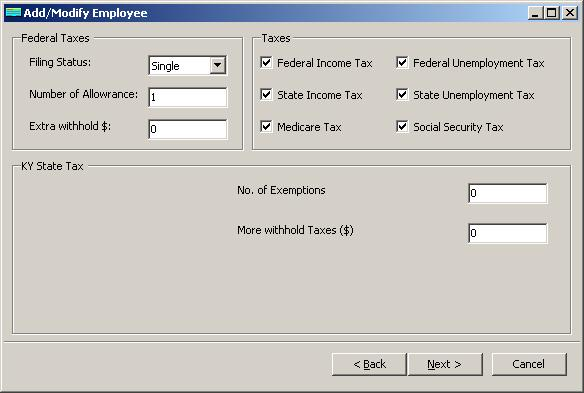 Kentucky payroll employee tax setup