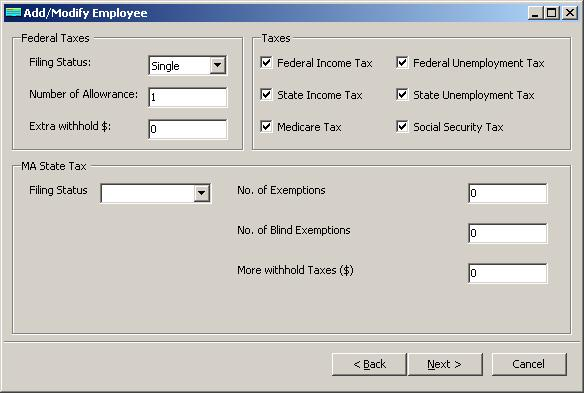 Massachusetts payroll employee tax setup