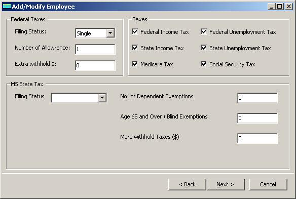 Mississippi payroll employee tax setup