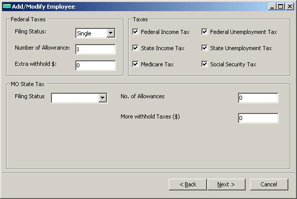 Missouri payroll employee tax setup