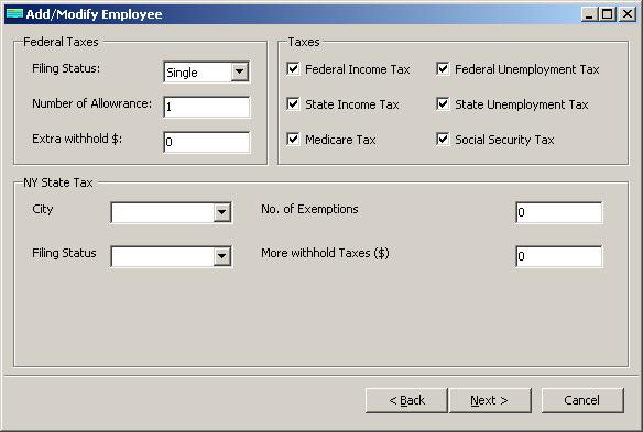 New York payroll employee tax setup