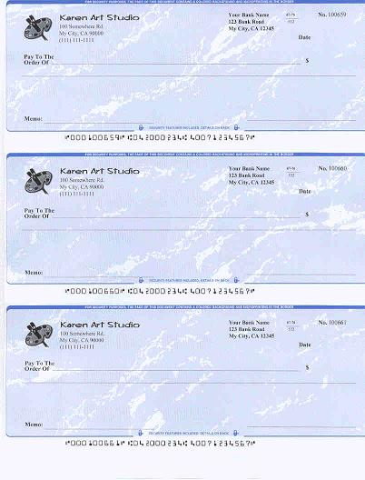 business check for art studio printed by ezCheckPrinting cheque software