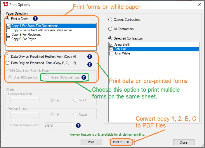 How to PDF Printing 1099-misc forms