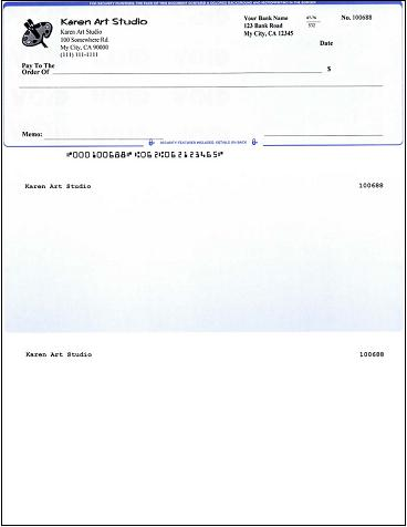Quickbooks compatible check printed by ezCheckPrinting software