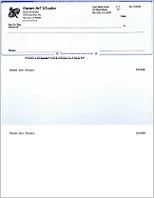 QuickBooks blank check printed by ezCheckPrinting cheque writer