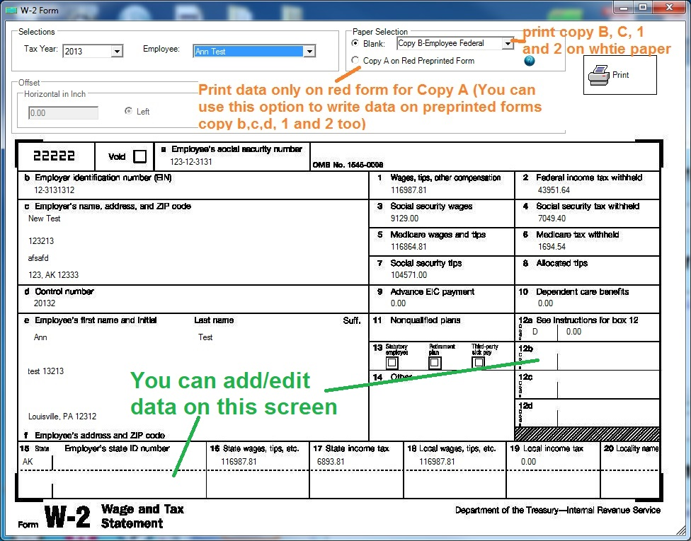 How To Print W Form For Employees With EzPaycheck Payroll Software - W 2 template