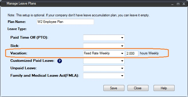 how to set up employee leave plan by fixed rate