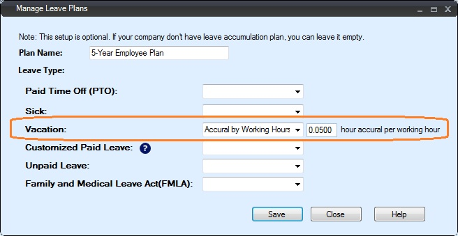 how to set up plan for vacation sick leave accrual