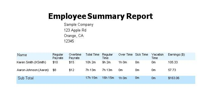 ... type of reports: (1) Summary Report;(2) Employee Time Payment Report